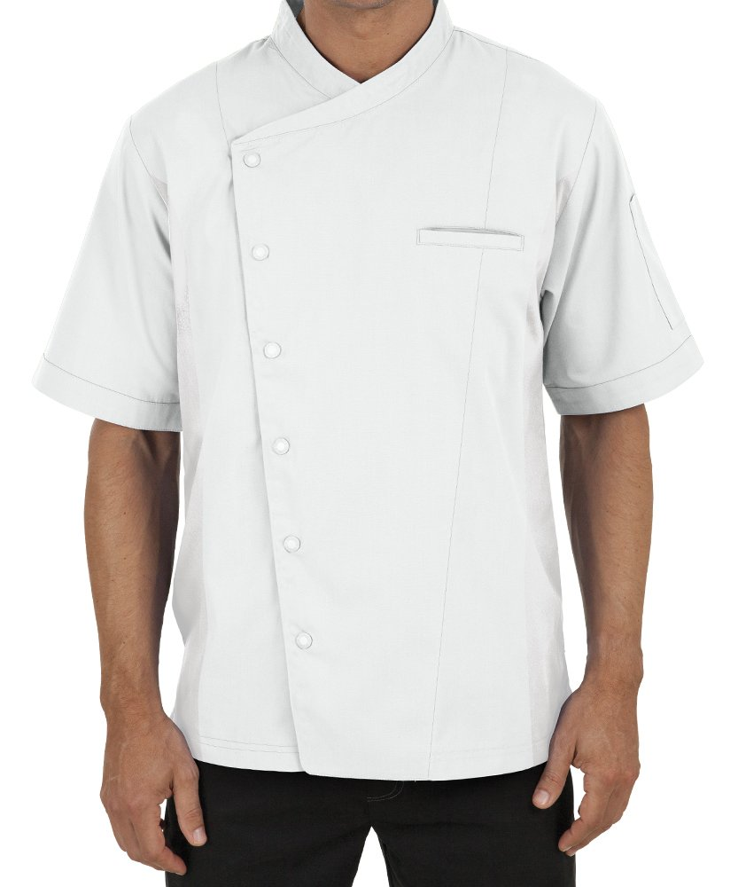 Men's Short Sleeve Chef Coat with Mesh Sides (XS-3X, 2 Colors) (Large, White)