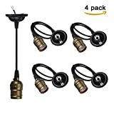 CTKcom E26/E27 Socket Screw Bulbs(4 Pack)- Edison Retro Pendant Lamp Holder With Wire For Lamp Socket And Fixture Replacement Vintage Industrial Style DIY Projects 110-220V (Bronze)