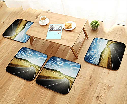 (Jiahonghome Universal Chair Cushions Asphalt Road in Tuscany Italy Personalized Durable W15.5 x L15.5/4PCS)