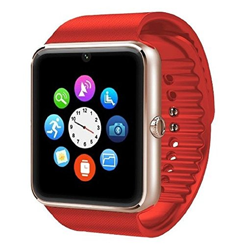 Padgene Fashion NFC Bluetooth GSM Smart Watch with Camera for Samsung S5 / Note 2/3 / 4, Nexus 6, HTC, Sony and Other Android Smartphones (Red 2)