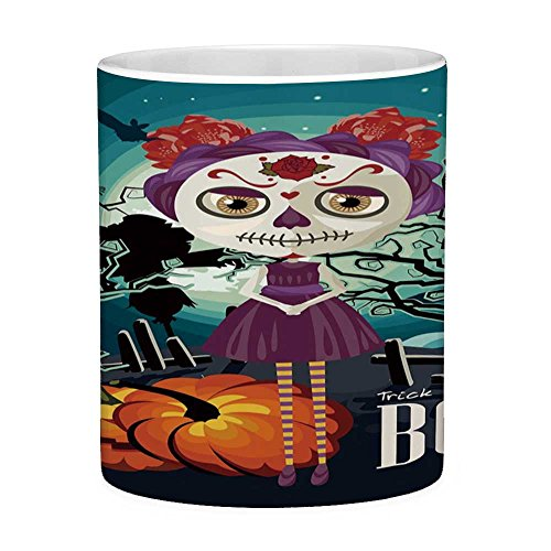 Lead Free Ceramic Coffee Mug Tea Cup White Halloween 11 Ounces Funny Coffee Mug Cartoon Girl with Sugar Skull Makeup Retro Seasonal Artwork Swirled Trees Boo Decorative Multicolor ()