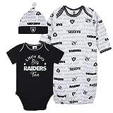 NFL Oakland Raiders Boys BODYSUIT GOWN AND CAP SET, Team Color, 0-3M