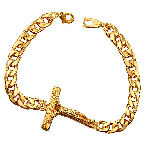 U7 Men 18K Gold Plated Crucifix Cross Design Cuban Curb Link Bracelet 21CM (18k Bracelet Link)