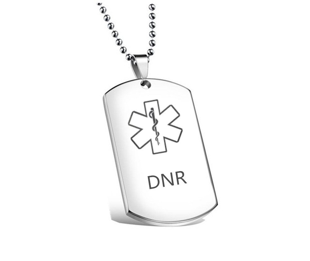 CF Death With Dignity DNR Necklace for Men DO NOT RESUSCITATE Stainless Steel Medical Alert Engraved Military Dog Tag ID Pendant,Silver-Respect Your Life