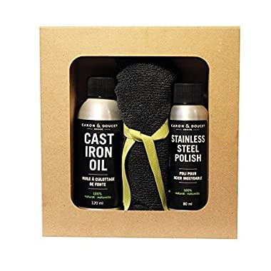 Caron & Doucet - Cast Iron Cook's Gift Set Bundle: 3 Items - 1 Cast Iron Oil, 1 Stainless Steel Oil & 1 Microfiber Cloth.
