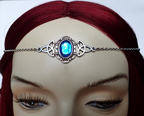 Sapphire Blue Celtic Triquetra Trinity Knot Elven Elf Silver Circlet Headpiece Headdress Crown Rennaissance Medieval Halloween (Elven Cosplay Costumes)