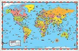 Rand Mcnally Kids Illustrated World Wall Map Rand Mcnally border=
