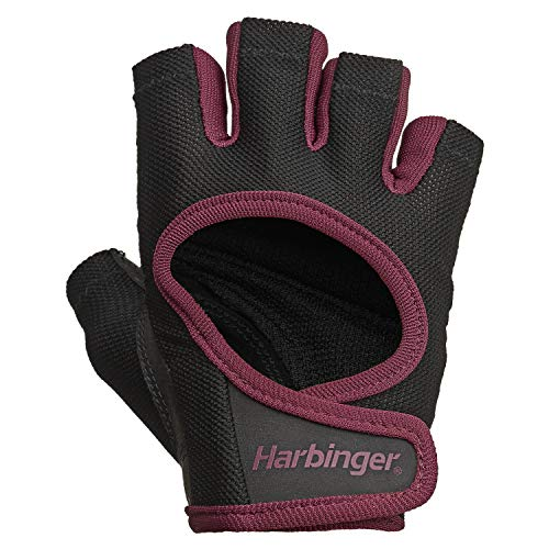 Harbinger Women's Power Weightlifting Gloves with StretchBack Mesh and Leather Palm (1 Pair), Black/Merlot, Medium (Fits 7 - 7.5 Inches)