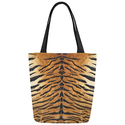 InterestPrint Animal Tiger Print Canvas Tote Bag Shoulder Handbag for Women Girls