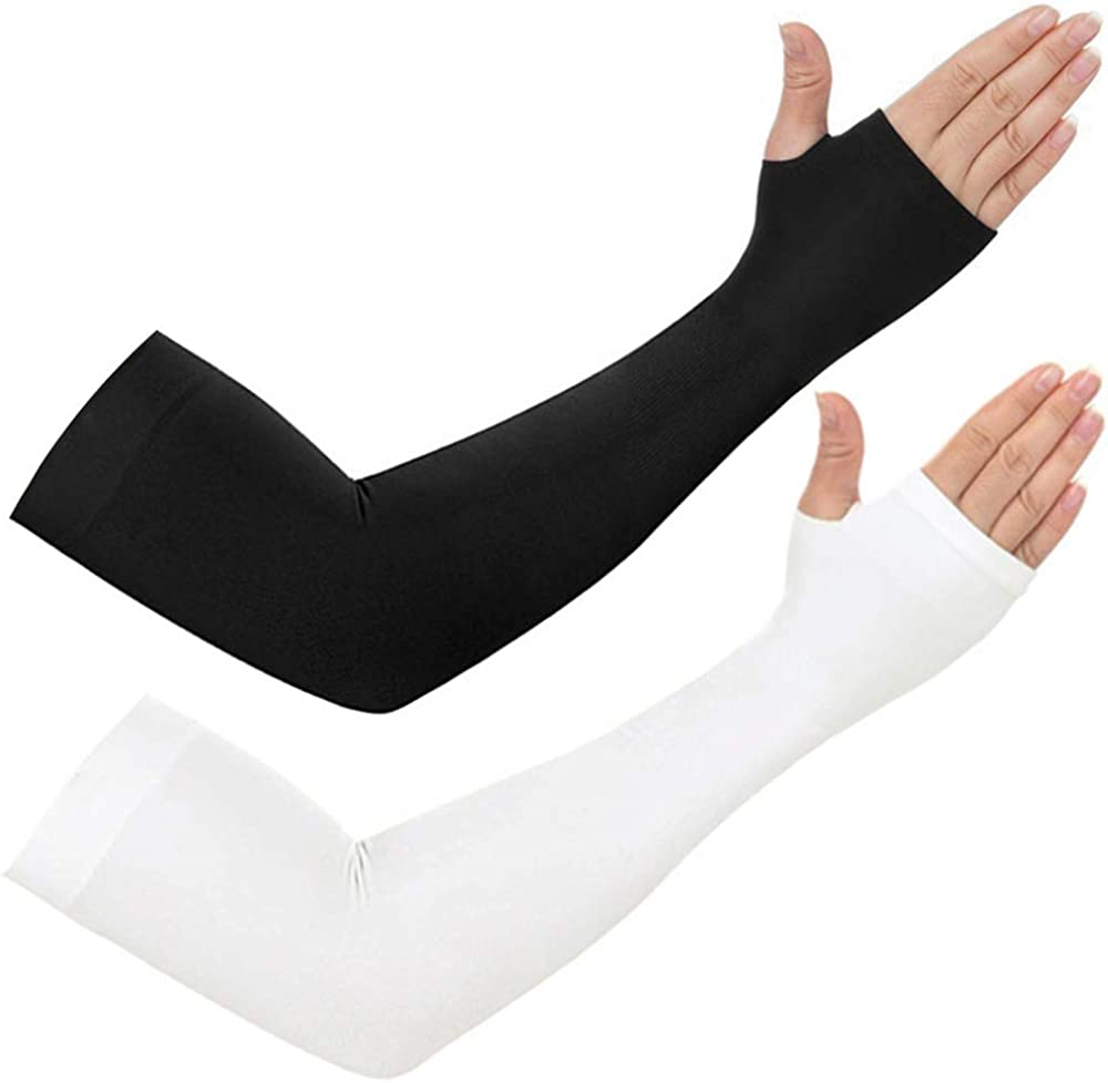 2 Pairs Cooling Arm Sleeves With Hand Cover UV Sun Protection For Unisex Stretch Sport Outdoor