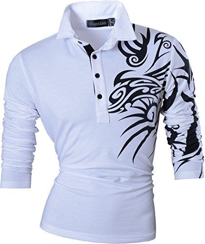 jeansian Mens Slim Fit Long Sleeve Casual Polo Tees Shirts Tops T-Shirts Tshirts U005