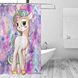 Cute Pink Shower Curtains ZOEO Unicorn Shower Curtain Cute Pink Horse Twinkle Galaxy Magic Dream Cartoon Bathroom Tub Window Curtain Set Fabric Bridal 12 Hooks Waterproof for Girls 72x72 Inch