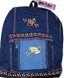 "Harry Potter 15"" Full-sized Blue Denim Backpack w/ Spell Book Design and Gold Trim"