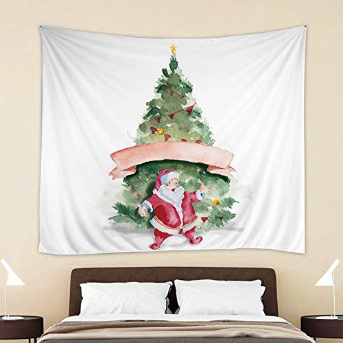 54' Shower Ring (HOKWAY Christmas Eve Tree Santa Claus Elk Penguin Polar Bear Snow Gift Tapestry Wall Hanging Art Decor Polyester Fabric Decorative Bedspread Picnic blanket Beach throw … (54'' x 70'', Christmas Tree))