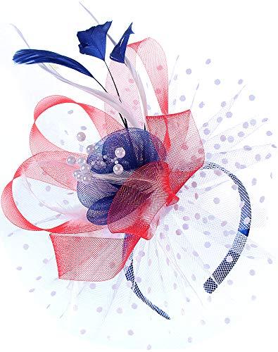 Flower Cocktail Tea Party Fascinators Feather Headwear Top Hats Wedding Headband for Women (009-US Flag Color)