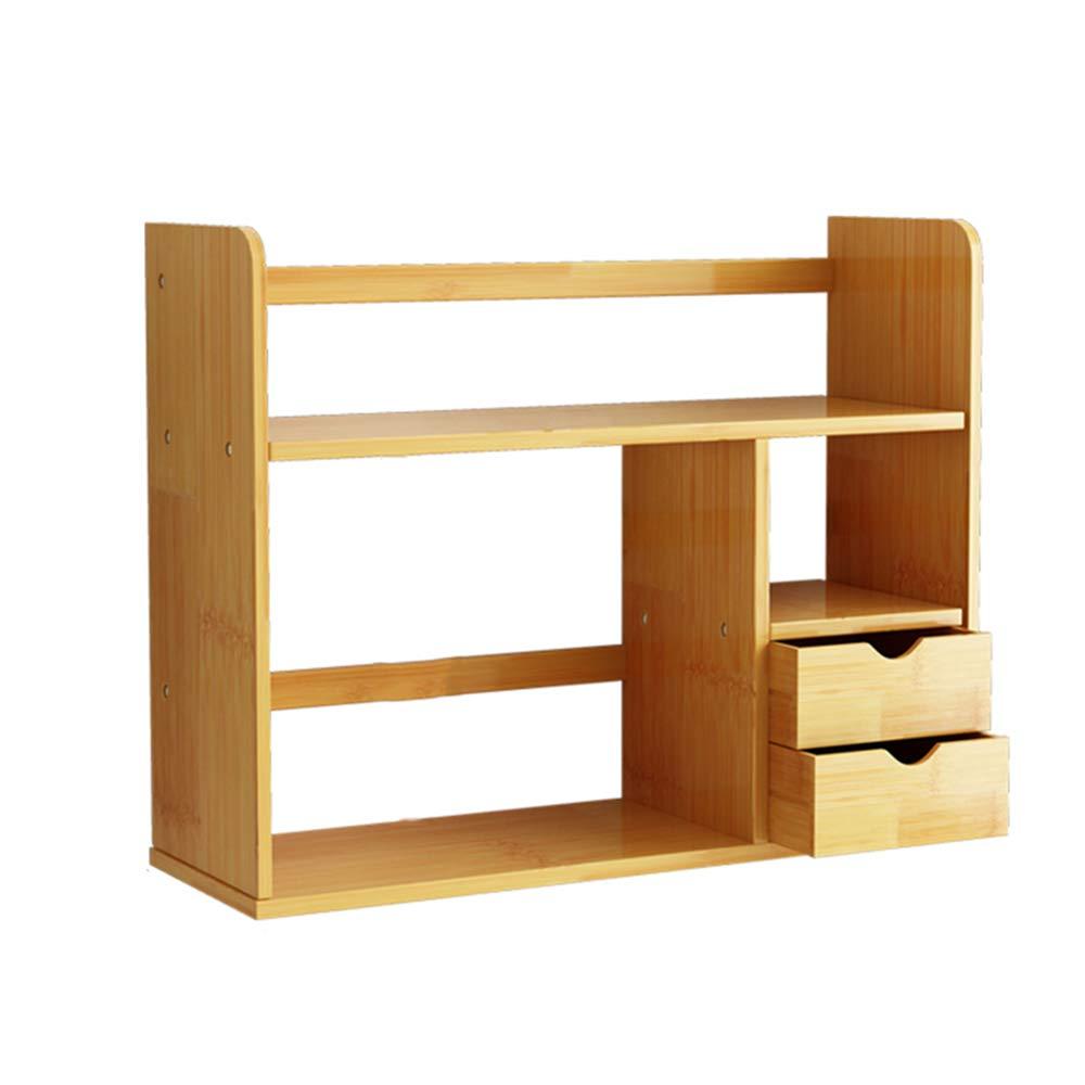 ZHIRONG Desktop Bamboo Bücherregal mit 2 Schubladen Regalen Office Bücherregal (größe : 68  19  46CM)