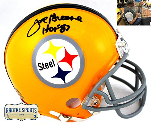 Joe Greene Autographed/Signed Pittsburgh Steelers Riddell Yellow Throwback NFL Mini Helmet with