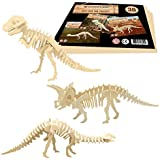3D Wooden Puzzles by WoodFlair - 3 pcs Set - Entertaining Toy puts You in the Action. Accurate manufacturing - Great Gift and Stylish Interior Decoration (Prehistoric)