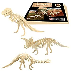 WoodFlair 3D Wooden Puzzle, Set of 3, Prehistoric