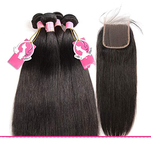 Loose Deep Wave Bundles With Closure Brazilian Human Hair Weave Non Remy Hair Extensions,22 & 24 & 26 & Closure 20,Natural Color,Free Part