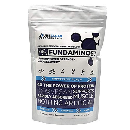 FUNDAMINOS - 60 serving - Great-Tasting Essential Amino Acid Powder + BCAA Blend, Organic, Plant-Based Athlete Endorsed, Physician Formulated for Peak Strength and Faster Muscle Recovery - (390 grams)