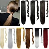FUT 24inch 90g Straight Wrap Around Ponytail One Piece Clip in Pony Tial Hair Extensions for Girl Lady Women Dark Brown