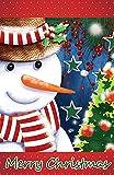 Morigins Snowman Christmas Tree Double-Sided Winter House Flag 28''x40''