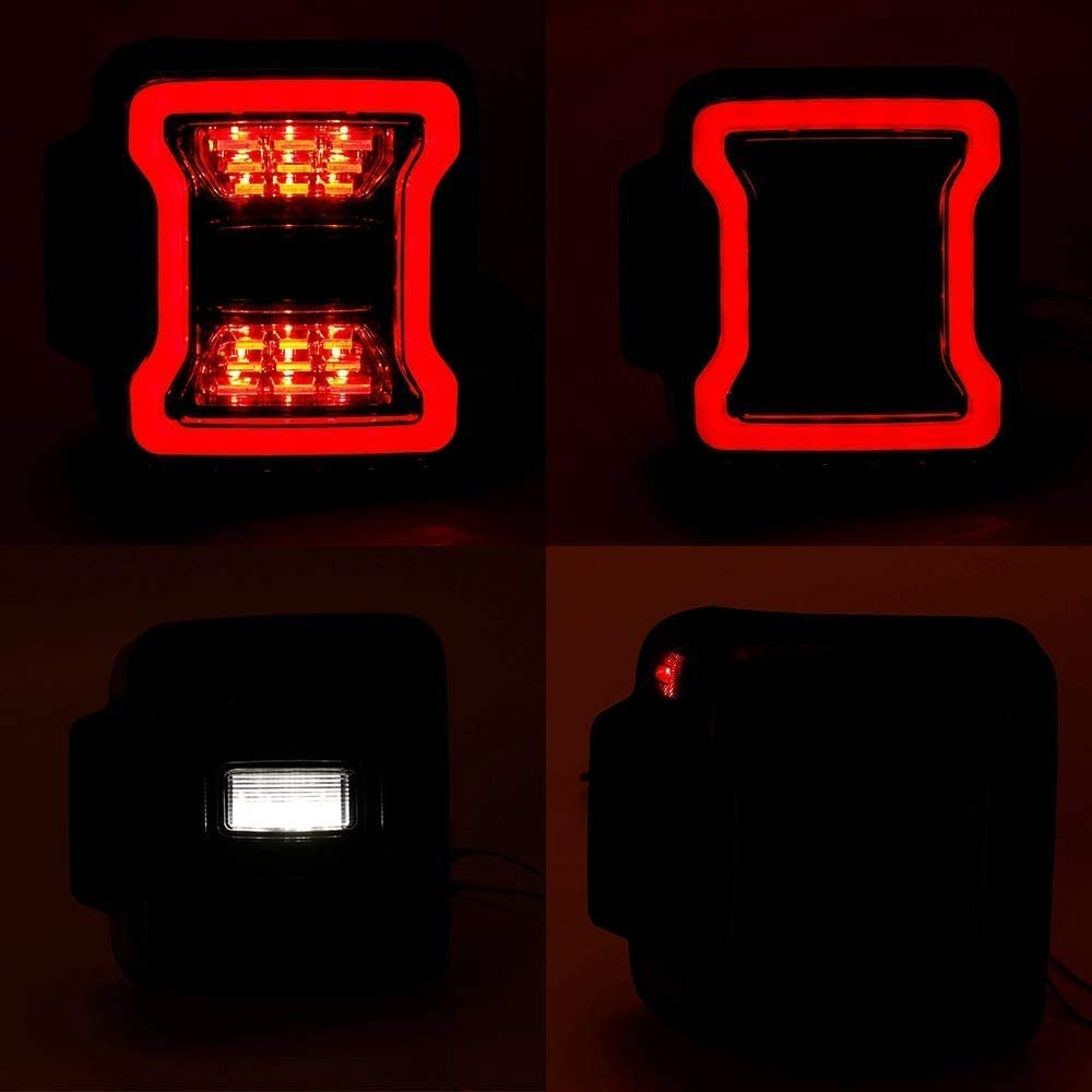 Jeep Wrangler JL LED Tail lights with Smoked Lens Replace Halogen for 2018-2019 Jeep Wrangler Sport Rubicon Sahara 2 and 4 Door Pack of 2