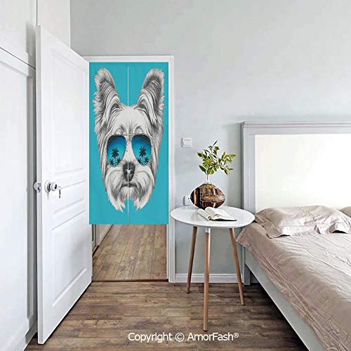 AmorFash Yorkie Door Way Curtain Fitting Room Curtain Partition Curtain Door Hanging Tapestry,Yorkshire Terrier Portrait with Cool Mirror Sunglasses Hand Drawn Cute Animal Art