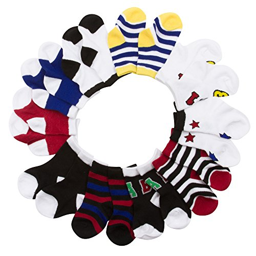 BARE HUGS Infant Boys 10 Pk All Weather Multicolored Low Cut Socks Stripes and Stars 12-24 Mos