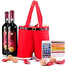 Christmas Santa Pants Gift and Treat Bag Holiday Candy Basket Wine Bottle Totes Gift Wrap For Wedding (Large, 2pcs)