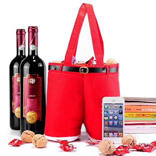 Christmas Santa Pants Gift and Treat Bag Holiday Candy Basket Wine Bottle Totes Gift Wrap For Wedding (Large, 2pcs) (Wine Bottle Basket)