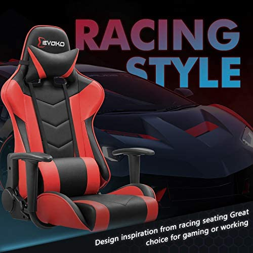Devoko Ergonomic Gaming Chair Racing Style Adjustable Height High-Back PC Computer Chair with Headrest and Lumbar Support Executive Office Chair (Red) 51qQjt3c gL