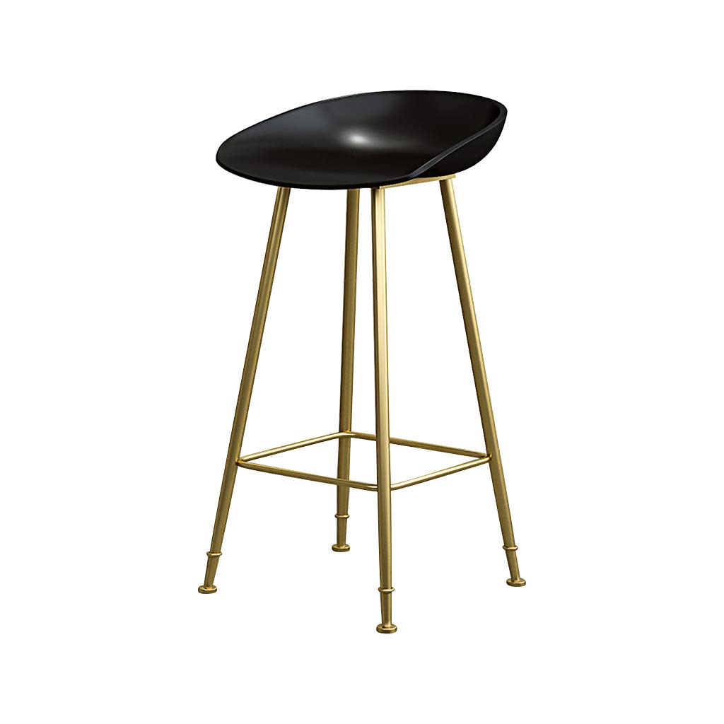 Black 75cm Bar Stools Bar Chairs Breakfast Dining Stools for Kitchen Island Counter Bar Stools Loading 120 KG PP Material Sitting Surface gold Metal Legs