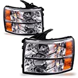 headlight assembly for chevy - Headlight Assembly for 2007-2014 Chevy Silverado Replacement Headlamp Driving Light Chromed Housing Amber Reflector Clear Lens,2 Year Warranty (Passenger and Driver side)