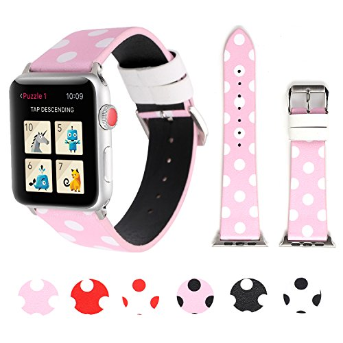 Sport Band for Apple Watch 38mm 42mm, iWatch Strap Replacement with Polka Dot Floral Print Leather Bracelet Wristband for Apple Watch Series 3,2,1, NIKE+, Hermes, Edition (Pink white polka dot, 38mm)
