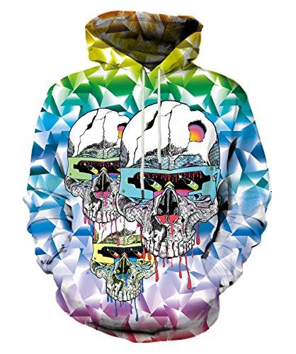 EOWJEED Unisex Realistic 3D Digital Print Pullover Hoodie Hooded Sweatshirt Medium