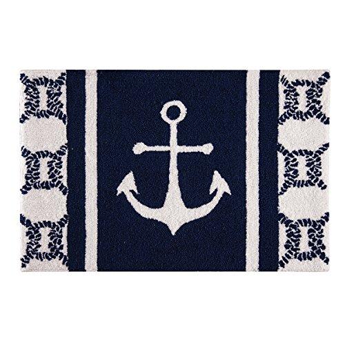 C&F Home Hooked Anchor Coastal Parfait Rug, Blue
