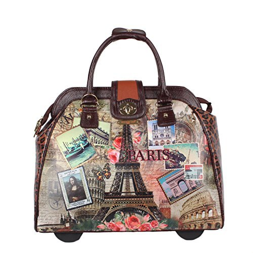 Nicole Lee Women's Stylish Vintage Europe Print Bag, Rolling Wheels, Laptop Compartment Travel Tote, Vintage European Stamp, One Size by Nicole Lee