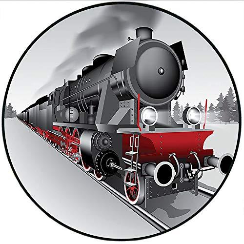 Short Plush Baby Crawling mats Steam Engine Locomotive Red Black Train with Headlights on Steel Railway Track Graphic Red Grey Floor playmats Children's Room 55