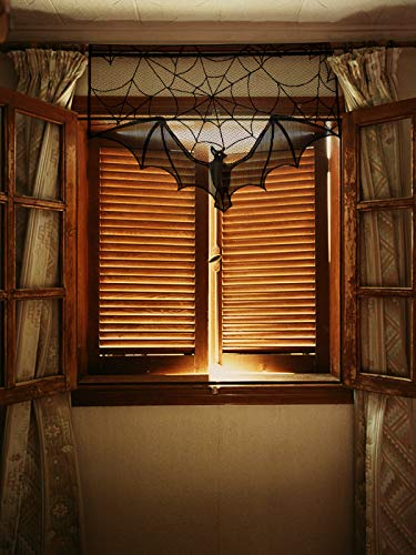 ANPHSIN 2 Pieces Halloween Decoration Lace Cobweb Bats Fireplace Mantels Valances Covers