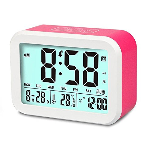 - Digital Alarm Clock, MONYAN Electronic Talking Alarm Clocks for Kids,Teens and Heavy Sleepers, 4.5'' Big Display,Smart Backlight,Battery Operated, Snooze Mode,3 Alarms, 7 Rings-Pink