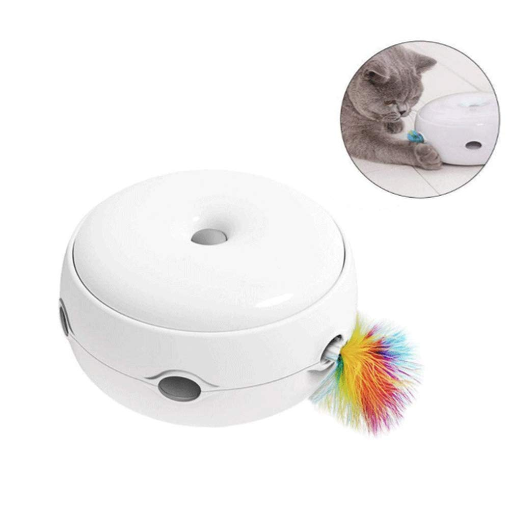 Automatic Electronic Cat Interactive Toy Three Modes Feather Motion Toy Day&Night Play Smart Cat Randomly Stimulates Cat's Senses
