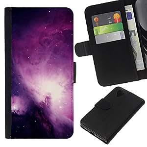 KingStore / Leather Etui en cuir / LG Nexus 5 D820 D821 / Universo púrpura Galaxy Stars el cielo nocturno