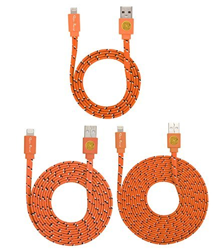 3 PACK 3ft/6ft/10ft Durable Braided Flat Noodle Lightning USB SYNC Cable Charger Cord for iPhone 5 / 5C / 5S / 6 / 6 Plus (Latest IOS Supported) iPad Mini iPod Touch 5th Air Gen(orange)