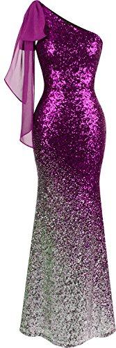 Angel-fashions Women's Asymmetric Ribbon Gradual Sequin Mermaid Long Prom Dress (S, Magenta)
