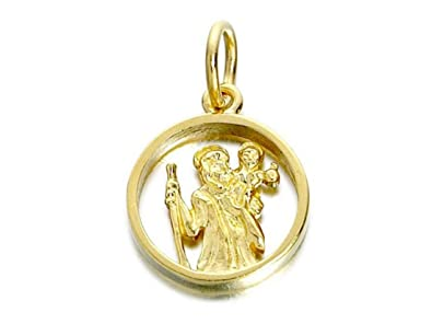 20f41934c F.Hinds 9ct Gold Cut Out St. Christopher Medallion 14mm Pendant Traveller  Charm: Amazon.co.uk: Jewellery