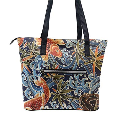 Girls Shoulder Handbag Fashion Bag, Anti-Theft Beach Bag Travel Bag Japanese Ocean Wave Fish Koi Art Shopping Bags, Soft and Lightweight Durable Tote Bags
