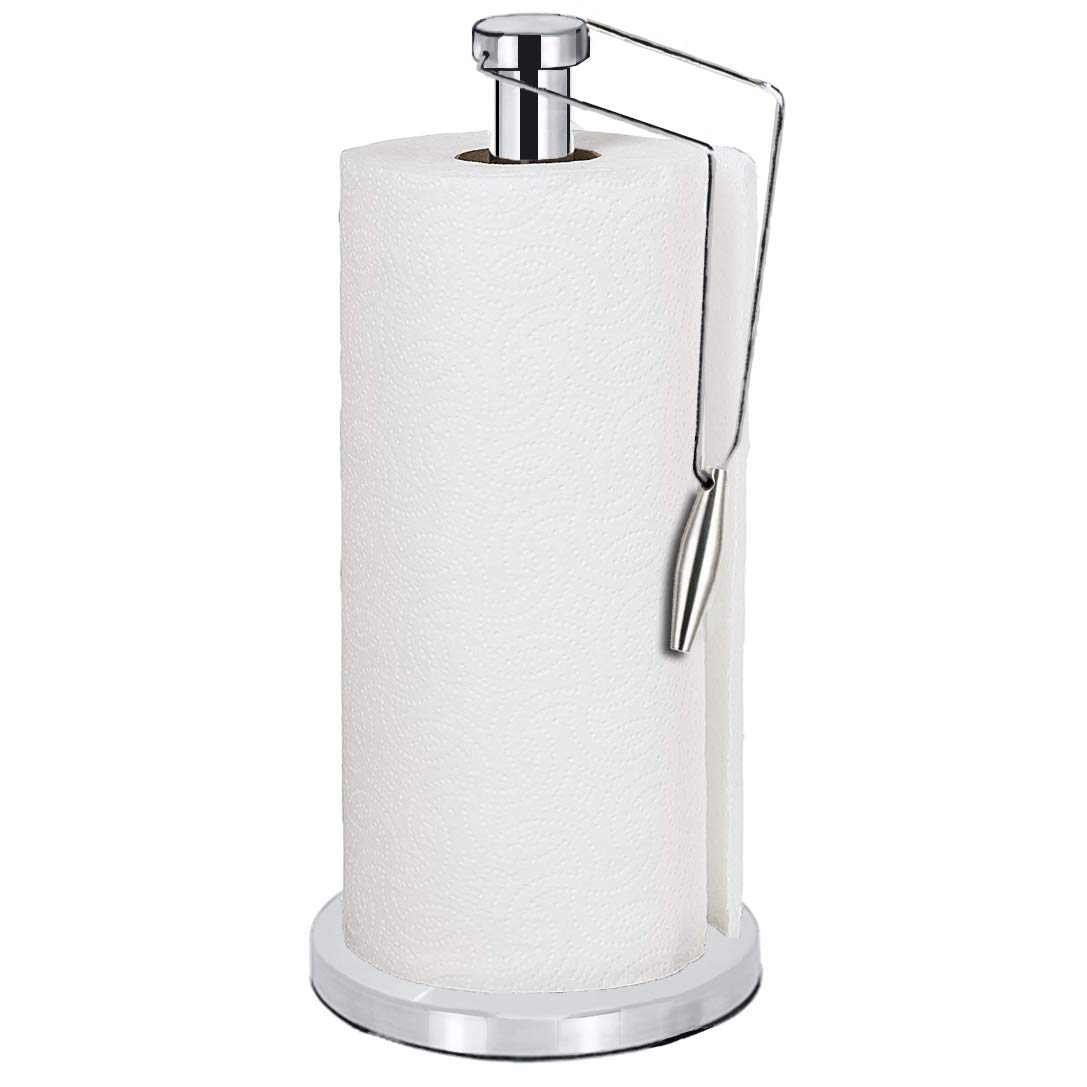 ShowNew Paper Towel Holder, One-Handed Tear Tissue Holder Paper Towel Roll Stand for Home Kitchen Countertop, Heavy Duty Stainless Steel with Non Slip Base, Fits Standard Sized Rolls
