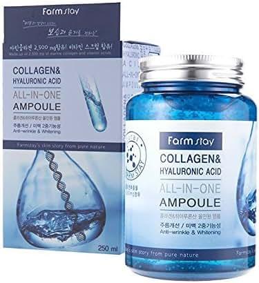 Farm stay Collagen & Hyaluronic Acid All In One Ampoule 250ml,Anti-Wrinkle, Whitening,All Skin Types